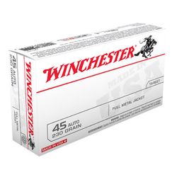 Winchester Ammo Q4170 Best Value 45 Automatic Colt Pistol (ACP) 230 GR Full Metal Jacket 50 Bx/ 10 Cs