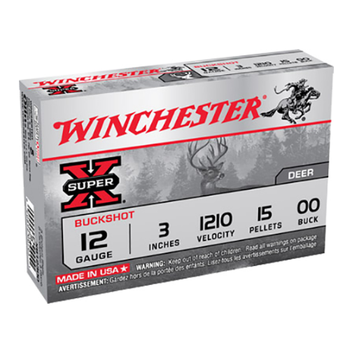 "Winchester Ammo XB12300 Super-X 12 Gauge 3"" Copper-Plated Lead 15 Pellets 00 Buck 5 Bx/ 50 Cs"