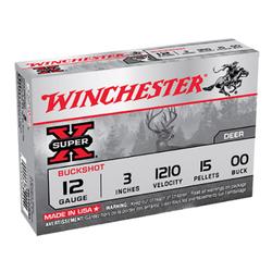 "Winchester Ammo XB12300 Super-X 12 Gauge 3"" Copper-Plated Lead 15 Pellets 00 Buck 5 Bx/ 50 Cs"