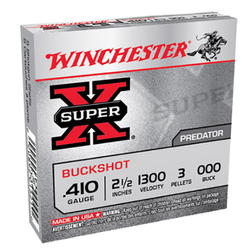 "Winchester Ammo XB41000 Super-X 410 Gauge 2.5"" Copper-Plated Lead 3 Pellets 000 Buck 5 Bx/ 50 Cs"