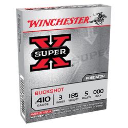 "Winchester Ammo XB413 Super-X 410 Gauge 3"" Copper-Plated Lead 5 Pellets 000 Buck 5 Bx/ 50 Cs"