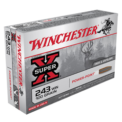 Winchester Ammo X2432 Super-X 243 Winchester 100 GR Power-Point 20 Bx/ 10 Cs