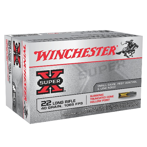 Winchester Ammo X22LRSUBA Super-X 22 Long Rifle 40 GR Truncated Cone Hollow Point 50 Bx/60 Cs