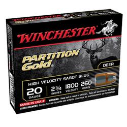 """Winchester Ammo SSP20 Supreme 20 Gauge 2.75"""" 260 GR Sabot Slug Shot 5 Bx/ 20 Cs"""