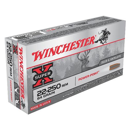 Winchester Ammo X222502 Super-X 22-250 Remington 64 GR Power-Point 20 Bx/ 10 Cs