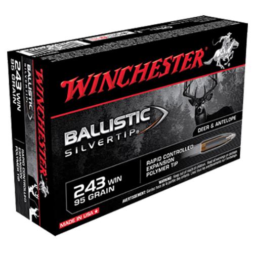 Winchester Ammo SBST243A Supreme 243 Winchester 95 GR Ballistic Silvertip 20 Bx/ 10 Cs