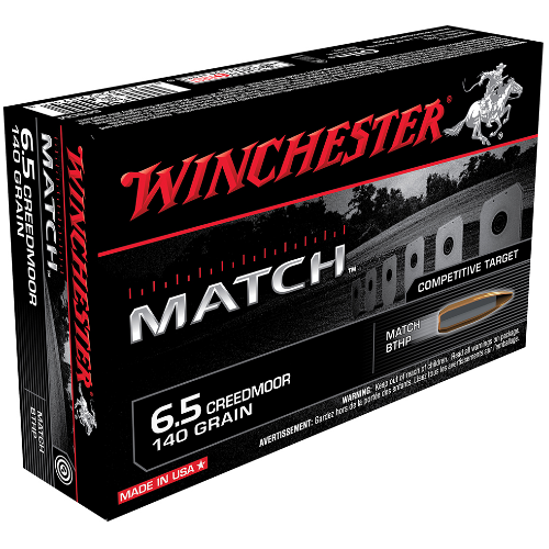 Winchester Ammo S65CM Match 6.5 Creedmoor 140 GR Hollow Point Boat Tail 20 Bx/ 10 Cs