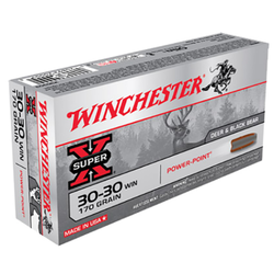 Winchester Ammo X30303 Super-X 30-30 Winchester 170 GR Power-Point 20 Bx/ 10 Cs