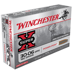 Winchester Ammo X30064 Super-X 30-06 Springfield 180 GR Power-Point 20 Bx/ 10 Cs