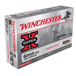 Winchester Ammo X6MMR2 Super-X 6mm Remington 100 GR Power-Point 20 Bx/ 10 Cs