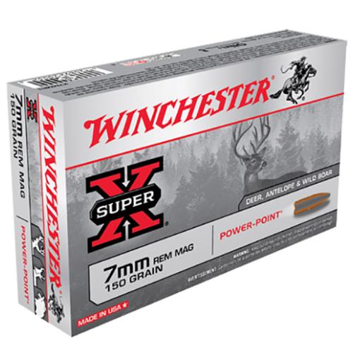 Winchester Ammo X7MMR1 Super-X 7mm Remington Magnum 150 GR Power-Point 20 Bx/ 10 Cs
