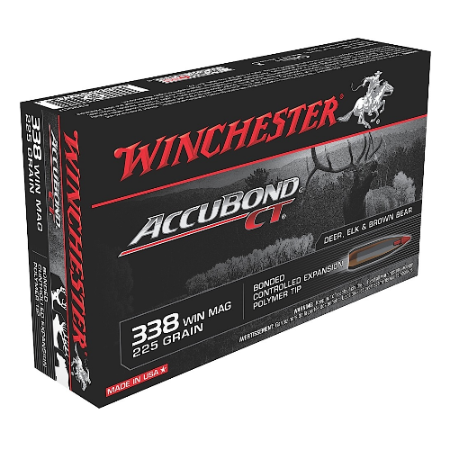 Winchester Ammo S338CT Supreme 338 Winchester Magnum 225 GR AccuBond CT 20 Bx/ 10 Cs