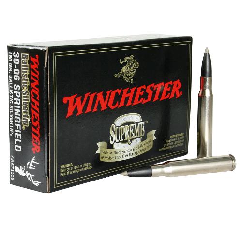 Winchester Ammo SBST3006 Supreme 30-06 Springfield 150 GR Ballistic Silvertip 20 Bx/ 10 Cs