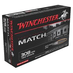 Winchester Ammo S308M Supreme 308 Winchester/7.62 NATO 168 GR Sierra MatchKing BTHP 20 Bx/ 10 Cs