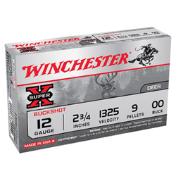 "Winchester Ammo XB1200 Super-X 12 Gauge 2.75"" Copper-Plated Lead 9 Pellets 00 Buck 5 Bx/ 50 Cs"