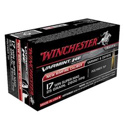 Winchester Ammo S17W25 Varmint 17 Winchester Super Magnum (WSM) 25 GR Polymer Tip 50 Bx/ 10 Cs