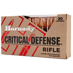 Hornady 80920 Critical Defense FTX 308 Winchester 155 GR Flex Tip Expanding 20 Bx/ 10 Cs