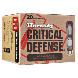 "Hornady 86238 Critical Defense 410 Gauge 2.5"" Lead 2 Round Balls/1 Slug 35 Cal/41 Cal 20 Bx/ 10 Cs"
