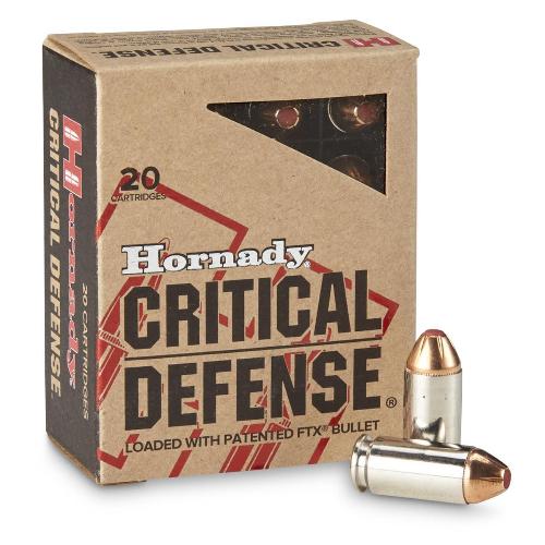 Hornady 91340 Critical Defense 40 Smith & Wesson (S&W) 165 GR Flex Tip Expanding 20 Bx/ 10 Cs