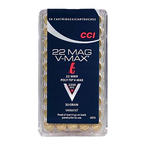CCI 0073 Varmint 22 Winchester Magnum Rimfire (WMR) 30 GR Poly-Tip V-Max