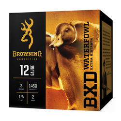 "Browning Ammo B193411232 BXD Extra Distance 12 Ga 3"" 1-1/4 oz 2 Shot 25 Bx/ 10 Cs"