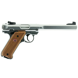 "Ruger 40112 Mark IV Competition Single/Double 22 Long Rifle (LR) 6.88"" 10+1 Laminate Wood Grip Stainless Steel"