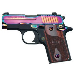 "Sig Sauer 238380RBT P238 Micro-Compact Rainbow Single 380 Automatic Colt Pistol (ACP) 2.7"" 6+1 Rosewood Grip Rainbow Titanium PVD Stainless Steel"